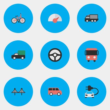 Illustrazione vettoriale Set di icone semplici di spedizione. Elementi Famiglia, Camion, Autobus e altri sinonimi di consegna, Bridgework e visualizzazione. Archivio Fotografico - 83387441