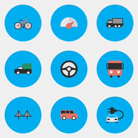 Vector Illustration Set Of Simple Shipping Icons. Elements Family, Lorry, Autobus And Other Synonyms Delivery, Bridgework And View.