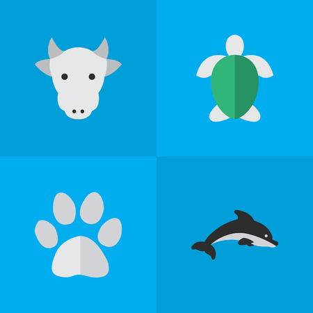 Vector Illustration Set Of Simple Animals Icons. Elements Foot, Fish, Turtle And Other Synonyms Turtle, Milk And Tortoise.