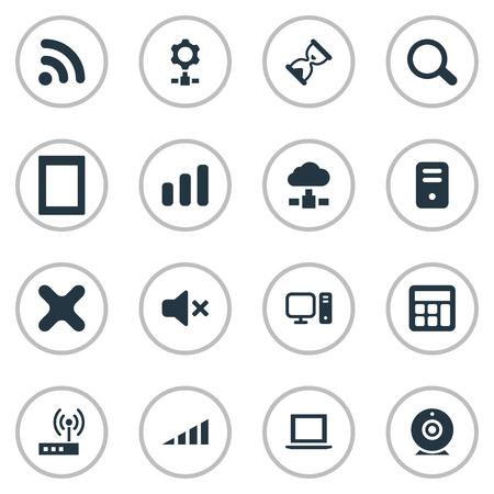 簡単なコンピューターのアイコンのベクトル イラスト セット。要素、接続、パームトップ、他類義語シーク、閉じるとブロードキャスト ルーター