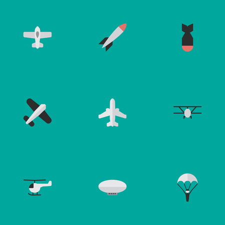 Vector Illustration Set Of Simple Aircraft Icons. Elements Copter, Balloons, Airplane And Other Synonyms Parachute, Bomb And Copter.
