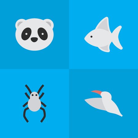 Vector Illustration Set Of Simple Wild Icons. Elements Crane, Tarantula, Bear And Other Synonyms Animal, Bear And Widow.
