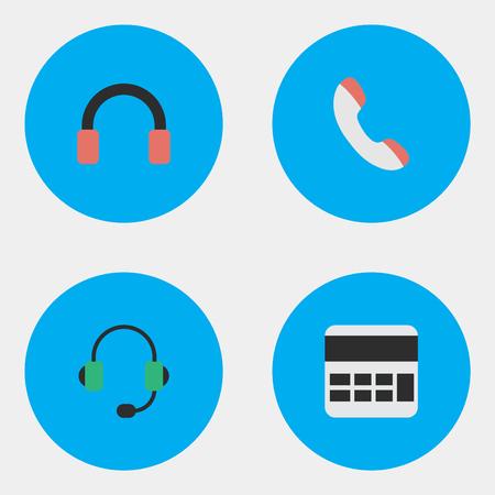 Vector Illustratie Set Van Eenvoudige Gadget Pictogrammen. Elementen Hoofdtelefoon, Telefoon, Microfoon En Andere Synoniemen Headset, Handset En Bereken.