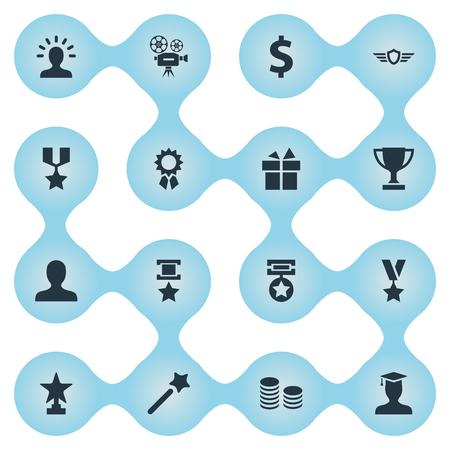 Vectorillustratie Set Of Simple Prize Icons. Elementen Geld, Toekenning, Mirakel En Andere Synoniemen Wings, Present And Triumphant. Stock Illustratie