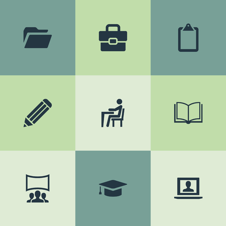 Vector Illustration Set Of Simple Conference Icons. Elements Archive, Publishing House, Drawing And Other Synonyms Admin, Education And Book.