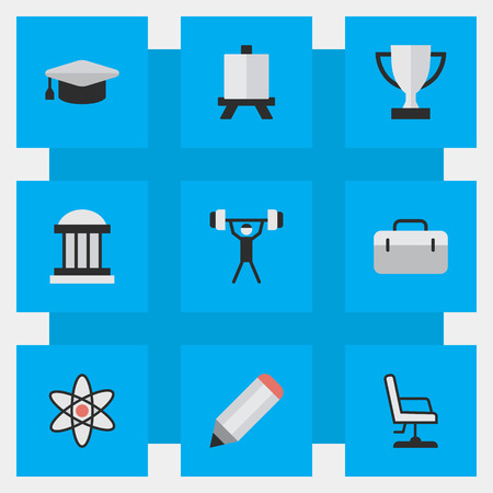 Vector Illustration Set Of Simple Knowledge Icons. Elements Goblet, Easel, University And Other Synonyms Suitcase, Nuclear And Painting.