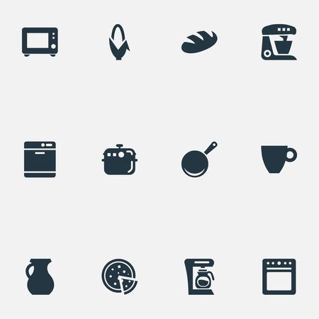 簡易キッチンのアイコンのベクトル イラスト セット。要素キッチン ツール、フライパン、コンロ、類義語、他の鍋、トウモロコシと食器洗い。