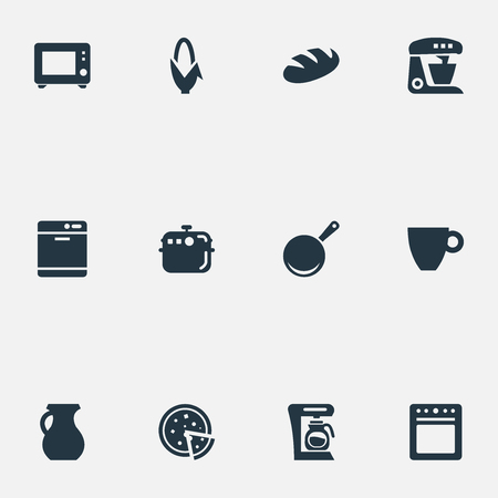 Vector Illustration Set Of Simple Kitchen Icons. Elements Kitchen Tool, Skillet, Stove And Other Synonyms Pot, Corn And Dishwashing.