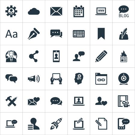 簡単なブログのアイコンのベクトル イラスト セット。要素コメント、友達、来る電子手紙やその他の同義語、管理者とスピーカー。