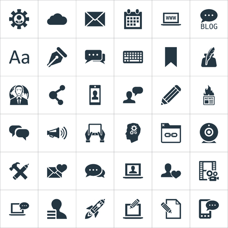 Vector Illustration Set Of Simple Blogging Icons. Elements Comment, Friend, E-Letter And Other Synonyms Coming, Admin And Loudspeaker. 向量圖像