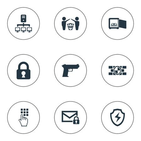 Illustration vectorielle définie des icônes simples sécurisés. Sécurité des éléments, saisie du mot de passe, dollar et autres synonymes Pistolet, pistolet et bouclier. Banque d'images - 83387457