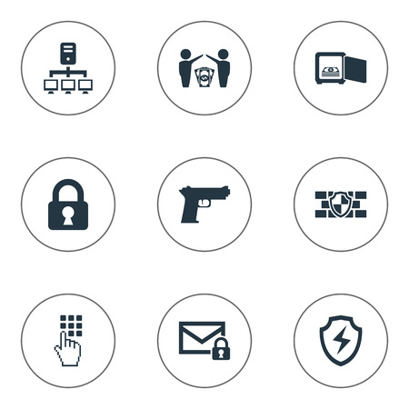 aegis: Vector Illustration Set Of Simple Secure Icons. Elements Security, Entering Password, Dollar And Other Synonyms Gun, Pistol And Shield.