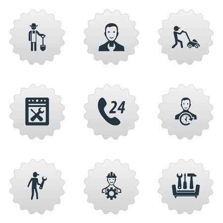 Vector illustratie Set van eenvoudige ondersteuning iconen. Elementen Tuinbouw, Specialist, Restauratie En Andere Synoniemen Specialist, Workshop En Schop.