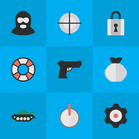 Vector Illustration Set Of Simple Crime Icons. Elements Lifesaver, Moneybox, Criminal And Other Synonyms Burglar, Weapon And Target. Çizim