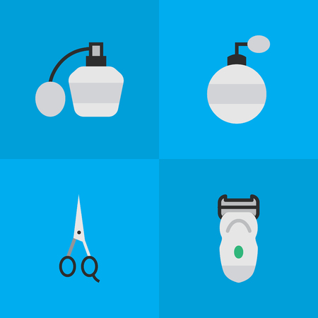 Vector Illustration Set Of Simple Shop Icons. Elements Electronic, Fragrance, Perfume And Other Synonyms Clippers, Electronic And Scissors. Illustration