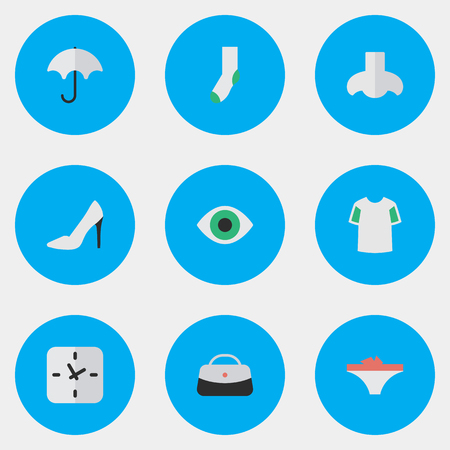 Vector Illustration Set Of Simple Accessories Icons. Elements View, Sock, Smell And Other Synonyms View, Shoe And Footwear.