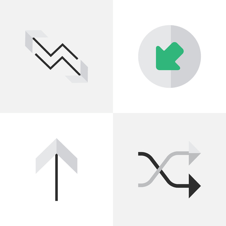 Vector Illustration Set Of Simple Indicator Icons. Elements Northwestward, Chaotically, Arrow And Other Synonyms Up, Chaotically And Upward.
