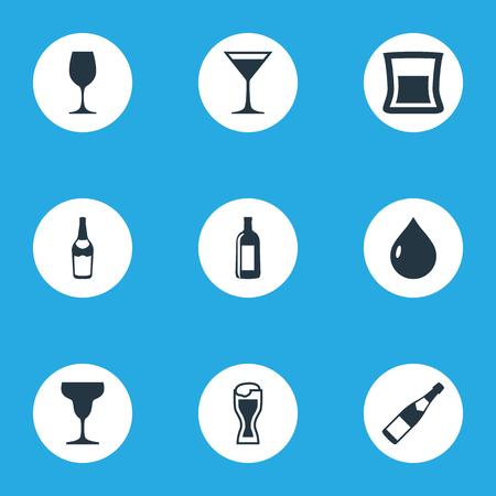 単なる飲み物アイコンのベクター イラスト セット。要素液体、ジン、ウォッカ、他の同義語アルコール ワインとコニャック。
