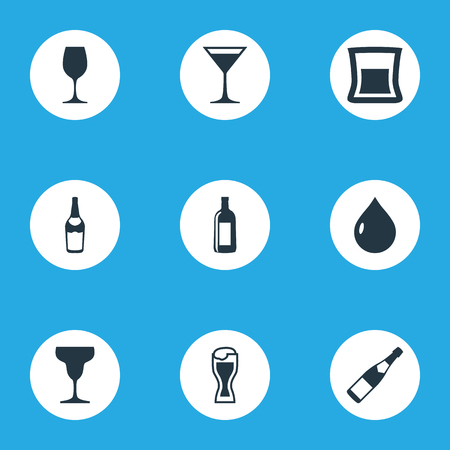 Vector Illustration Set Of Simple Beverage Icons. Elements Liquid, Gin, Vodka And Other Synonyms Alcohol, Wine And Cognac.