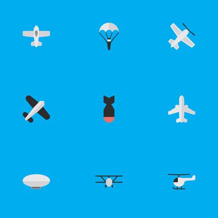 Vector Illustration Set Of Simple Aircraft Icons. Elements Aviation, Craft, Copter And Other Synonyms Parachute, Flying And Helicopter. Illustration