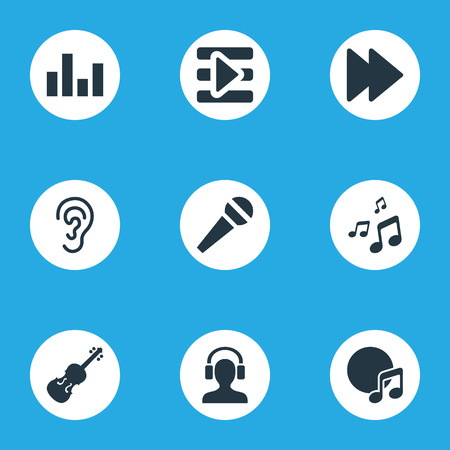 Vector Illustration Set Of Simple Music Icons. Elements Microphone, Fiddle, Dj And Other Synonyms Next, Equalizer And Listening. Ilustrace