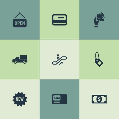 벡터 일러스트 레이 션 간단한 구매 아이콘의 집합입니다. 요소 플라스틱 돈, 레이블, 기호 및 기타 동의어 카드, 배달 및 은행.