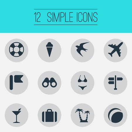 Vector Illustration Set Of Simple Seaside Icons. Elements Airplane, Beach Games, Lifesaver And Other Synonyms Lifebuoy, Junction And Flag.