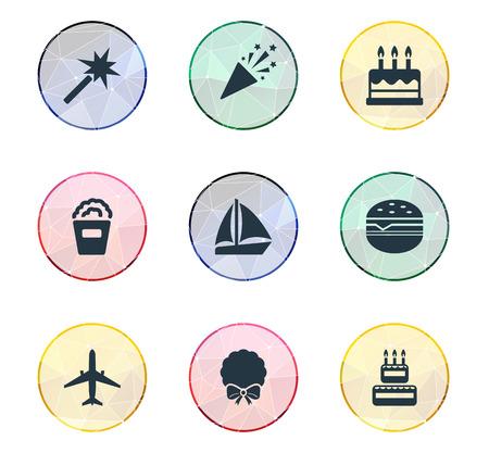 単純な休日のアイコンのベクトル イラスト セット。要素のペストリー、航空機、ケーキ、その他の類義語旅行ボートや娯楽。