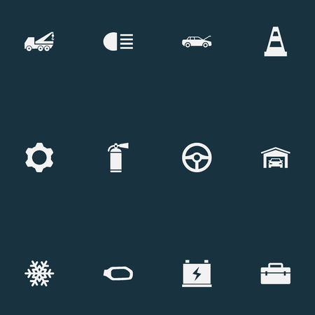 Vector Illustration Set Of Simple Automobile Icons. Elements Accumulator, Sprinkler, Snowflake And Other Synonyms Antifreeze, Accumulator And Spare.