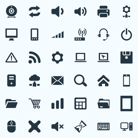 Vector Illustration Set Of Simple Device Icons. Elements Floppy Disk, Cogwheel, Control Device And Other Synonyms Close, Phone And Online. Иллюстрация