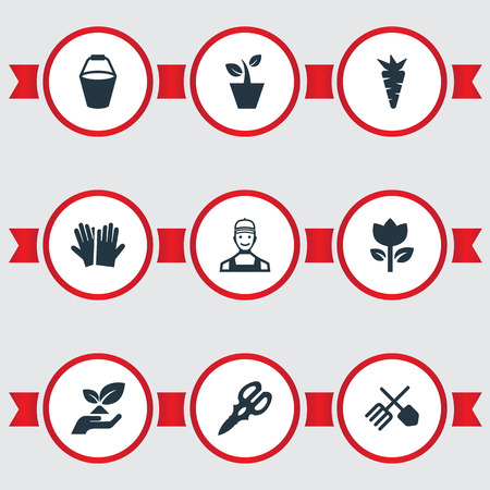 Vector Illustration Set Of Simple Gardening Icons. Elements Worker, Rescue Nature, Blossom And Other Synonyms Save, Blossom And Gloves.