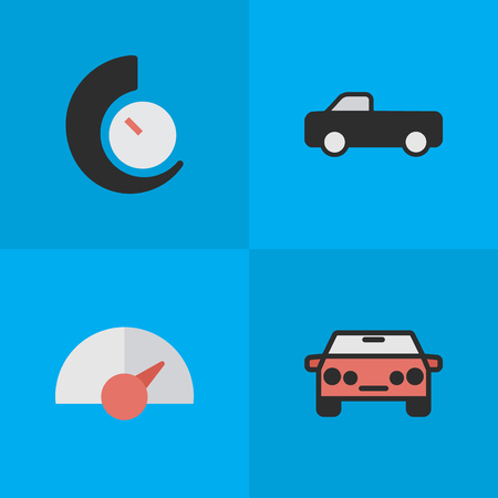 Vector Illustration Set Of Simple Transportation Icons. Elements Speed, Auto, Speedometer And Other Synonyms Chronometer, Suv And Auto.