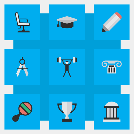 Vector Illustration Set Of Simple Knowledge Icons. Elements Armchair, Measurement Dividers, Racket And Other Synonyms Bodybuilding, Compass And Drawing.