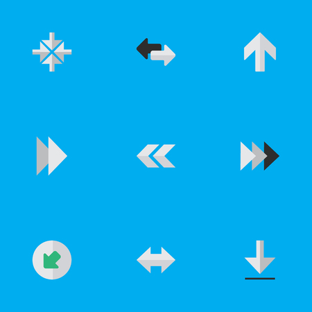 Vector Illustration Set Of Simple Cursor Icons. Elements Forward, Upwards, Inside And Other Synonyms Ahead, Download And Northwest. Иллюстрация