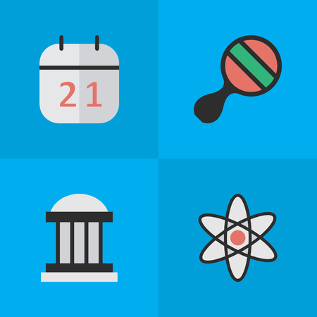 Vector Illustration Set Of Simple Knowledge Icons. Elements Molecule, University, Date Block And Other Synonyms Pong, Nuclear And Ping.