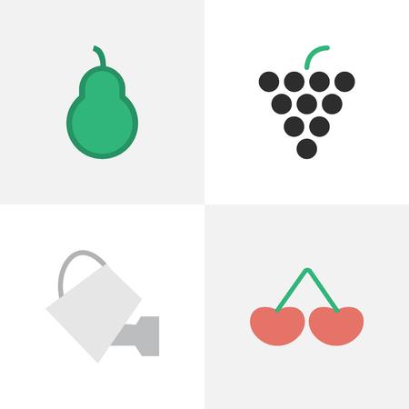 シンプルな庭のアイコンのベクトル イラスト セット。要素ベリー、ワイン、サンドバッグ、他の同義語ワイングラス パンチと梨。