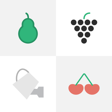 Vector Illustration Set Of Simple Garden Icons. Elements Berry, Wine, Punching Bag And Other Synonyms Wineglass, Punching And Pear.