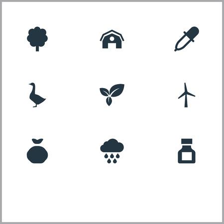 벡터 일러스트 레이 션 간단한 농업 아이콘의 집합입니다. 요소 살충제, 터빈, 격납고 및 다른 동의어 터빈, Holdall 및 조류.