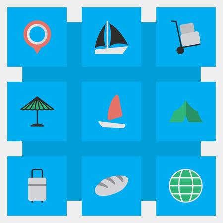 Vector Illustration Set Of Simple Vacation Icons. Elements Parasol, World, Cargo And Other Synonyms Journey, Tent And Boat. Illustration