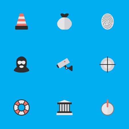 Illustration vectorielle définie des icônes d'infraction simple. Éléments Sécuritaires, Criminels, Isolés Et Autres Synonymes Grille, Sécurité Et Sauveteur. Banque d'images - 83386813