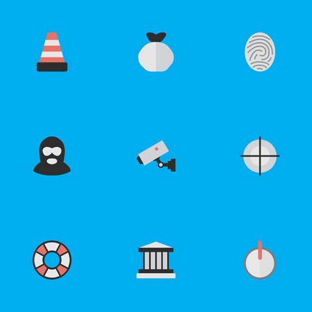 Vector Illustration Set Of Simple Offense Icons. Elements Safe, Criminal, Isolated And Other Synonyms Grille, Security And Lifeguard. Illustration