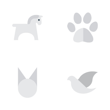 Vector Illustration Set Of Simple Wild Icons. Elements Steed, Foot, Cat And Other Synonyms Cat, Foot And Pigeon. Illustration