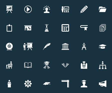 Vector Illustration Set Of Simple Seminar Icons. Elements Team Leader, Structure, Publishing House And Other Synonyms Worker, Architect And Drawing.