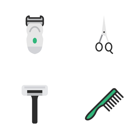 Vector Illustration Set Of Simple Shop Icons. Elements Scissors, Shaver, Hairbrush And Other Synonyms Razor, Hairbrush And Tool.