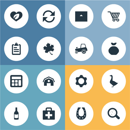 Vector Illustration Set Of Simple Agriculture Icons. Elements Care, Refresh, List And Other Synonyms Sack, Recycle And Forest.