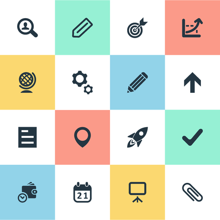Vector Illustration Set Of Simple Entrepreneurship Icons. Elements Okay, Upward Direction, Process And Other Synonyms Stationary, Pen And Shuttle.