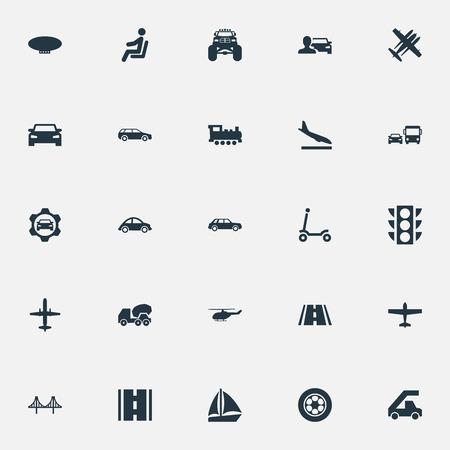 벡터 일러스트 레이 션 간단한 전송 아이콘의 집합입니다. 요소 다운 그레이드, Automobilist, 요트 및 기타 동의어 폭격기, 공공 및 신호등.