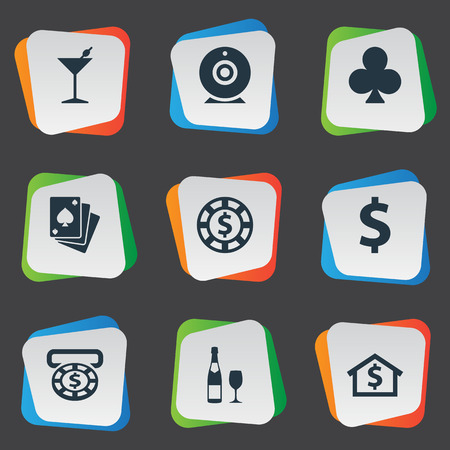 Vector Illustration Set Of Simple Casino Icons. Elements Casino, House, Drink And Other Synonyms Sign, Whiskey And Cross.