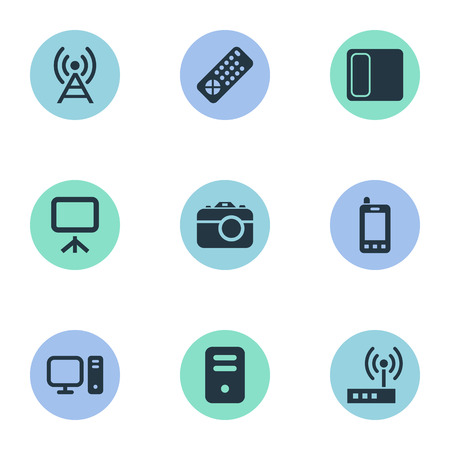 Vector Illustration Set Of Simple Technology Icons. Elements Processor, Personal Computer, Controller And Other Synonyms Remote, Camera And Controller. Illustration