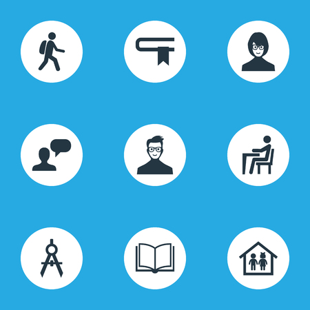 Vector Illustration Set Of Simple Knowledge Icons. Elements Devider, Literature, Pupil And Other Synonyms Narrator, Lecture And Preschool.